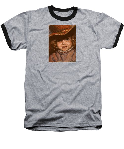 Baseball T-Shirt featuring the painting Portrait Of Leticia by Walter Casaravilla