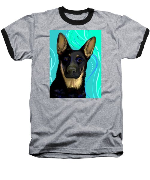 Baseball T-Shirt featuring the digital art Portrait Of A German Shepherd Dog by Karon Melillo DeVega