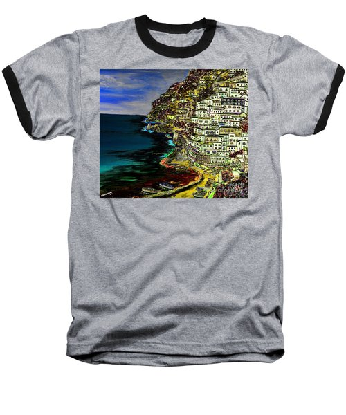 Positano At Night Baseball T-Shirt by Loredana Messina