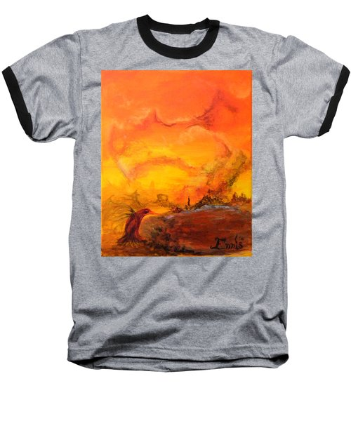 Baseball T-Shirt featuring the painting Post Nuclear Watering Hole by Christophe Ennis