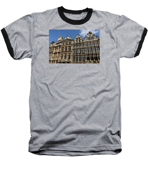 Baseball T-Shirt featuring the photograph Postcard From Brussels - Grand Place Elegant Facades by Georgia Mizuleva