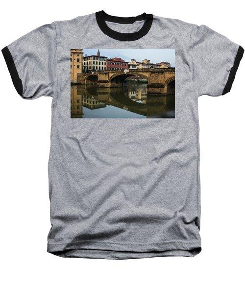 Postcard From Florence - Arno River And Ponte Santa Trinita  Baseball T-Shirt
