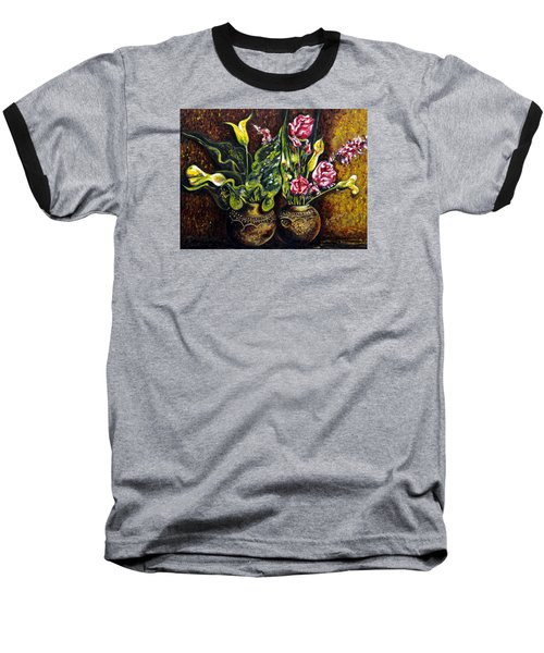 Baseball T-Shirt featuring the painting Pots And Flowers by Harsh Malik