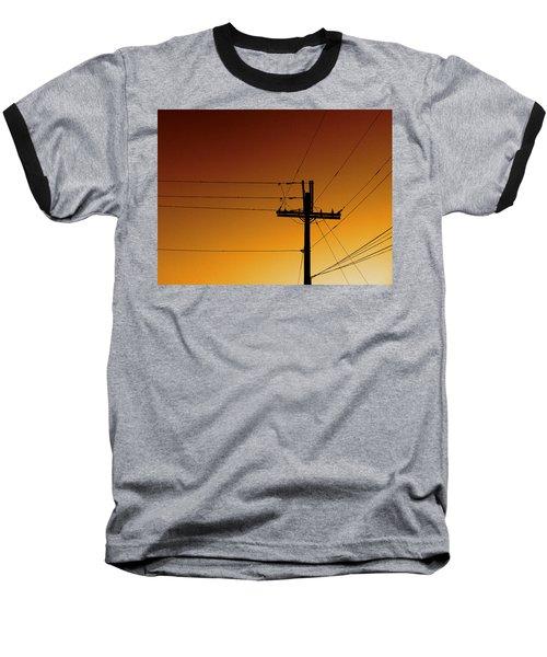 Power Line Sunset Baseball T-Shirt