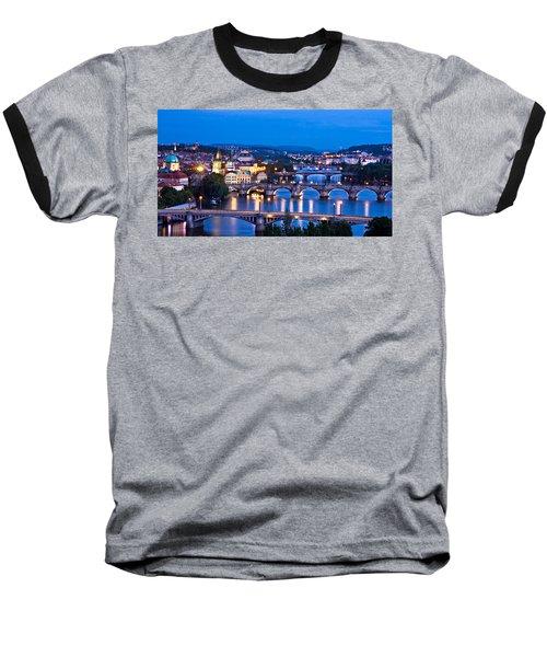 Prague Cityscape At Night Baseball T-Shirt