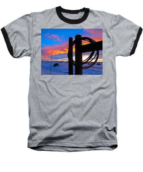 Prairie Fence Sunset Baseball T-Shirt