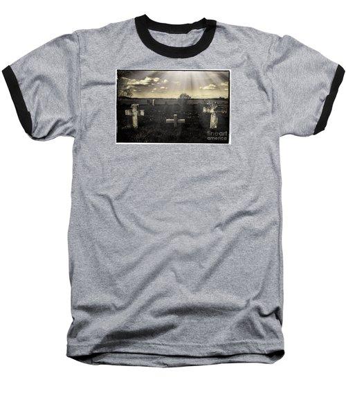Prairie Graves Baseball T-Shirt by Jean OKeeffe Macro Abundance Art