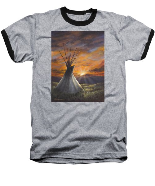 Prairie Sunset Baseball T-Shirt by Kim Lockman