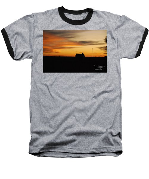 Baseball T-Shirt featuring the photograph Prairie Sunset by Mary Carol Story