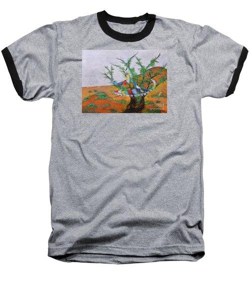 Baseball T-Shirt featuring the painting Prayer Flags by Deborha Kerr