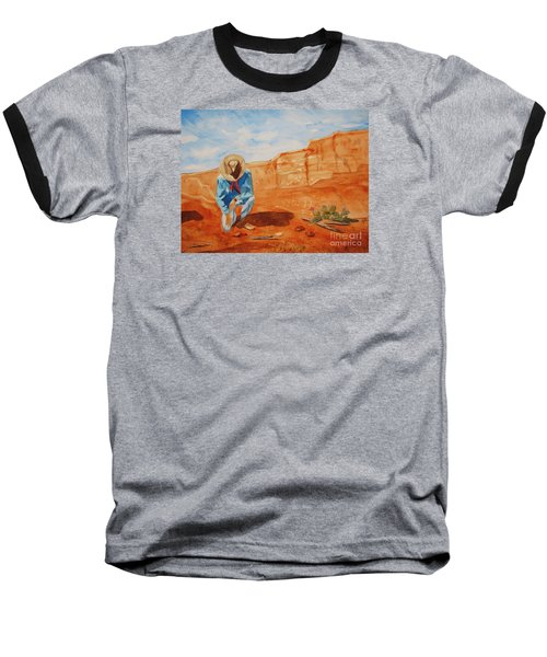 Baseball T-Shirt featuring the painting Prayer For Earth Mother by Ellen Levinson