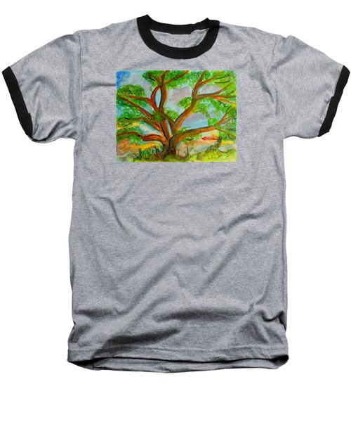 Prayer Mountain Tree Baseball T-Shirt