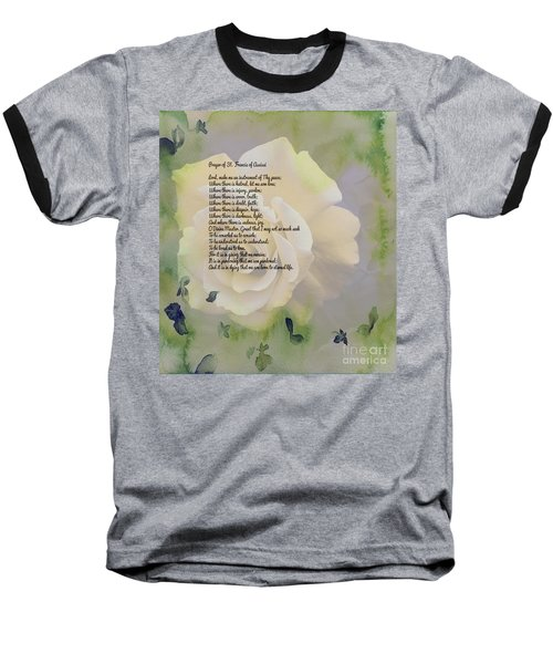 Prayer Of St. Francis And Yellow Rose Baseball T-Shirt