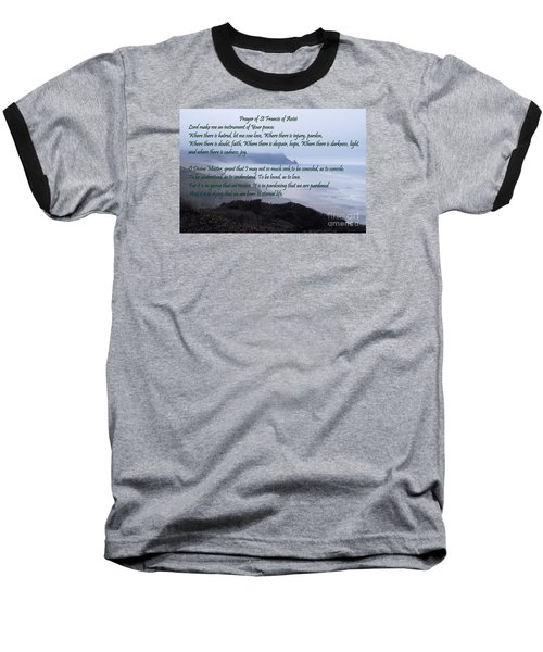 Prayer Of St Francis Of Assisi Baseball T-Shirt by Sharon Elliott