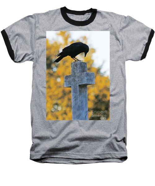 Praying Crow On Cross Baseball T-Shirt