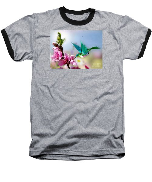 Baseball T-Shirt featuring the mixed media Pretty Hummingbird by Morag Bates