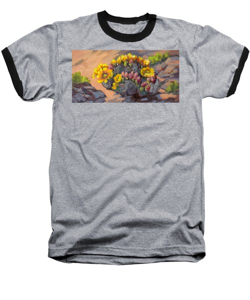 Prickly Pear Cactus In Bloom Baseball T-Shirt by Diane McClary