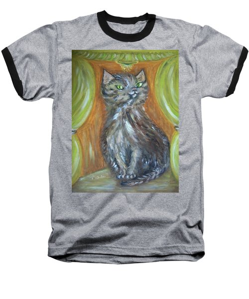 Baseball T-Shirt featuring the painting Princess Kitty by Teresa White