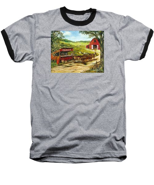 Baseball T-Shirt featuring the painting Produce Stand by Lee Piper