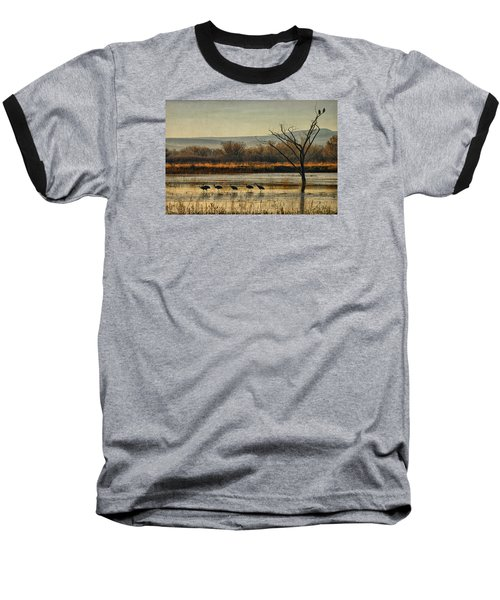 Baseball T-Shirt featuring the photograph Promenade Of The Cranes by Priscilla Burgers