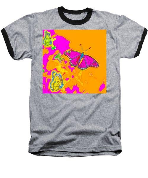 Psychedelic Butterflies Baseball T-Shirt