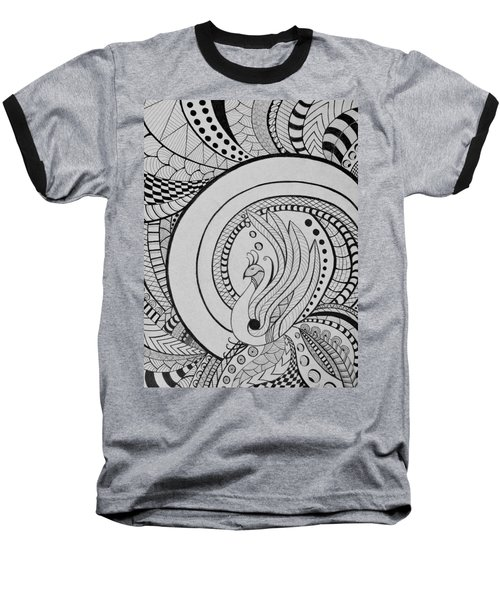 Psychedelic Peacock - Zentangle Drawing - Ai P.nilson Baseball T-Shirt