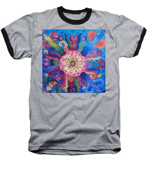 Baseball T-Shirt featuring the painting Psychedelic Squid 2 by Megan Walsh