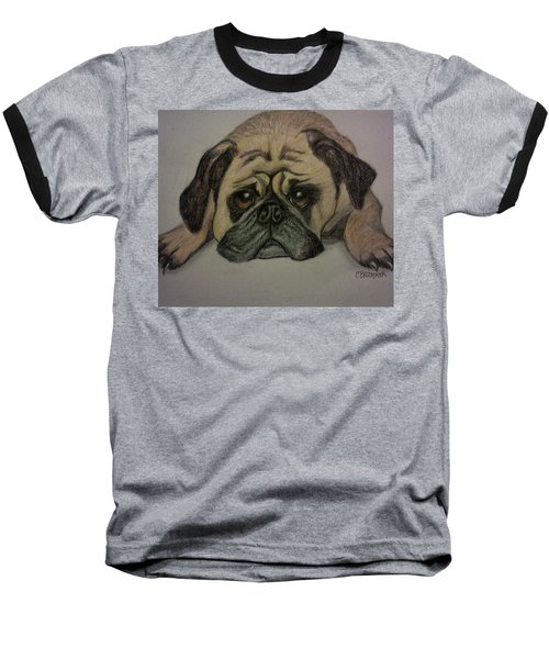 Pug Baseball T-Shirt by Christy Saunders Church