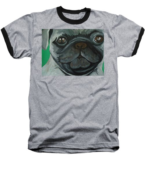 Baseball T-Shirt featuring the painting PUG by Leslie Manley