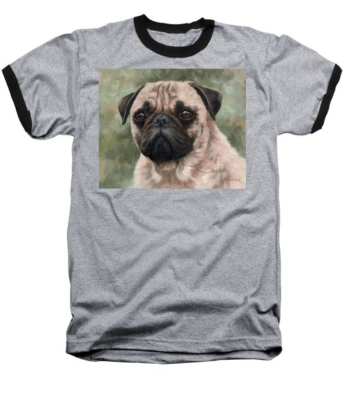 Pug Portrait Painting Baseball T-Shirt