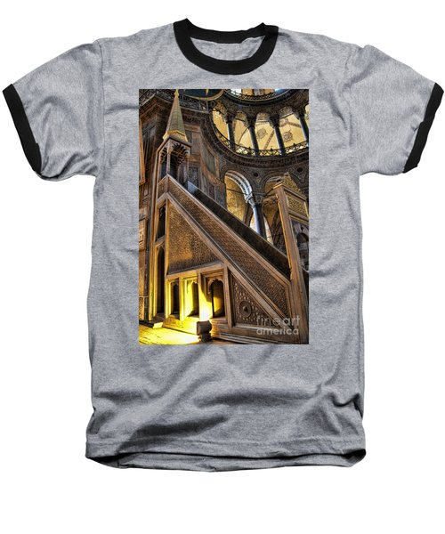 Pulpit In The Aya Sofia Museum In Istanbul  Baseball T-Shirt by David Smith