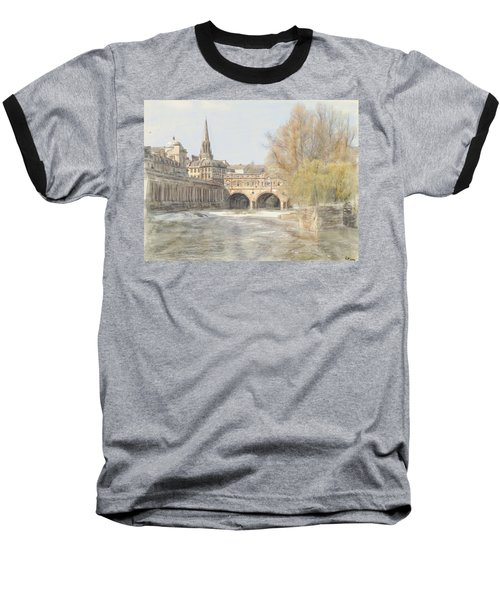 Pulteney Bridge Bath Baseball T-Shirt by Ron Harpham