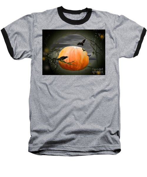 Baseball T-Shirt featuring the photograph Pumpkin And Moon Halloween Art by Annie Zeno
