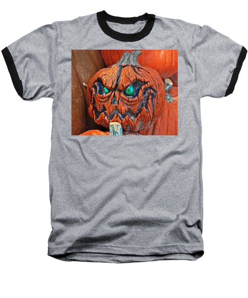 Pumpkin Face Baseball T-Shirt