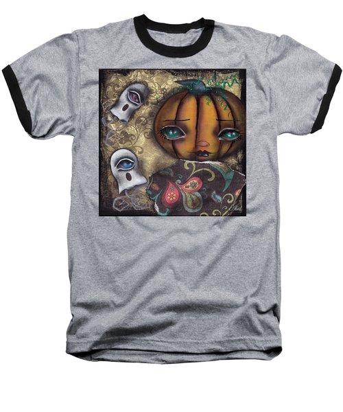 Pumpkin Girl Baseball T-Shirt by Abril Andrade Griffith