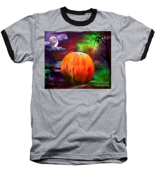 Pumpkin Skull Spider And Moon Halloween Art Baseball T-Shirt by Annie Zeno
