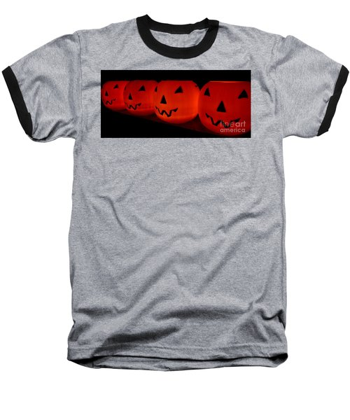 Pumpkins Lined Up Baseball T-Shirt