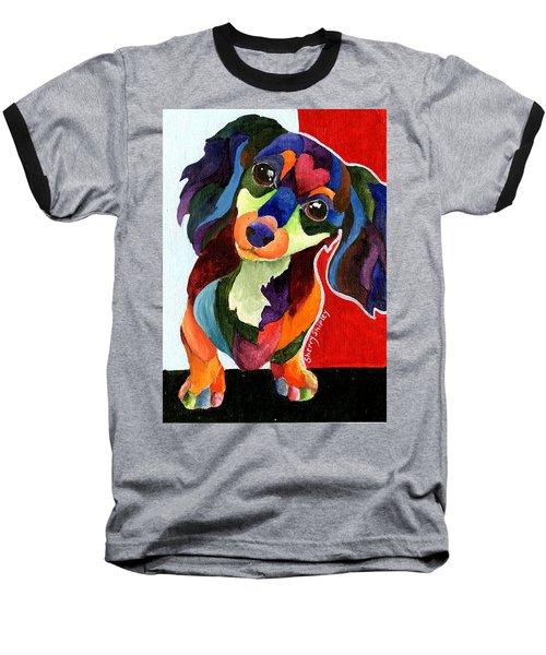 Puppy Love Long Haired Dachshund Baseball T-Shirt