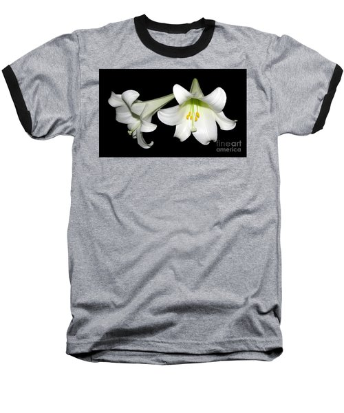 Pure White Easter Lilies Baseball T-Shirt by Rose Santuci-Sofranko