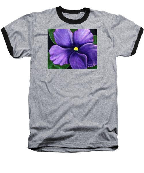 Baseball T-Shirt featuring the painting Purple African Violet by Barbara Griffin