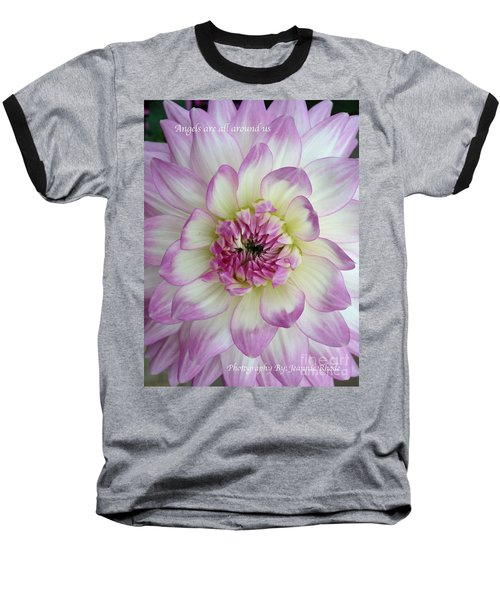 Baseball T-Shirt featuring the photograph Purple And Cream Dahlia by Jeannie Rhode