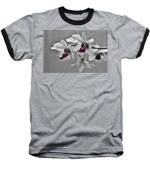 Purple And Pale Green Orchids - Black And White Baseball T-Shirt
