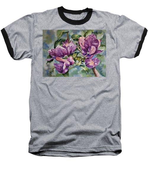 Purple Beauties - Bougainvillea Baseball T-Shirt by Roxanne Tobaison
