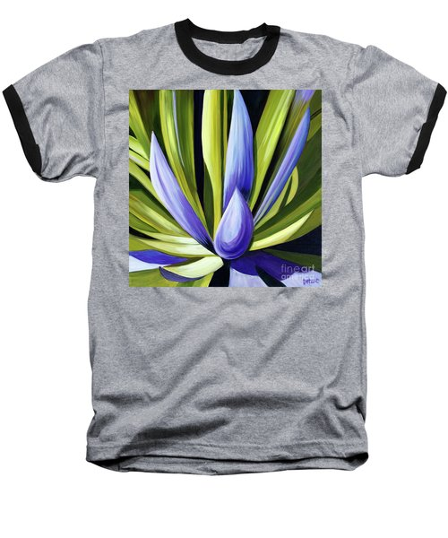 Baseball T-Shirt featuring the painting Purple Cactus by Debbie Hart