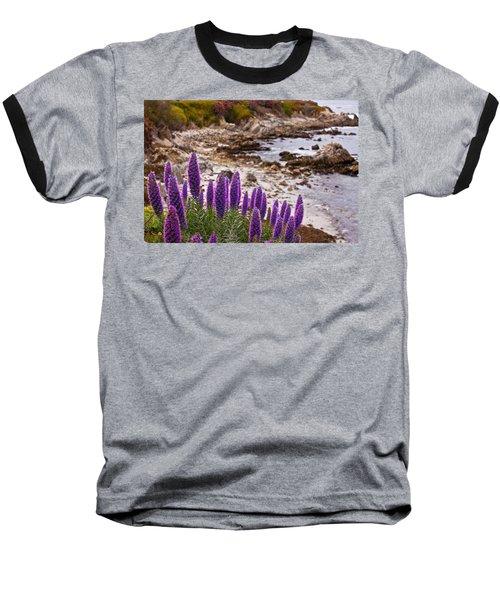 Purple California Coastline Baseball T-Shirt by Melinda Ledsome