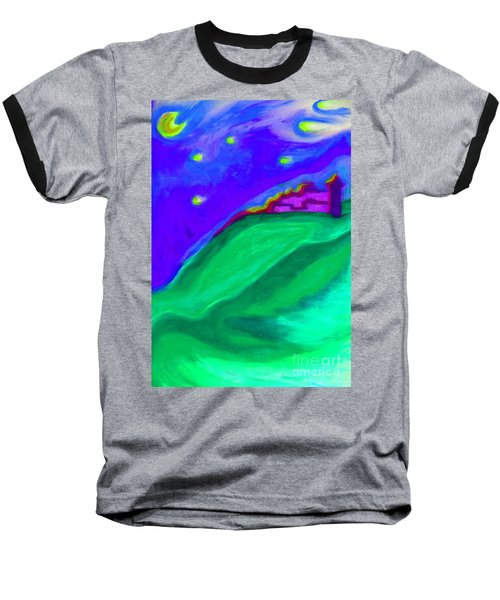 Baseball T-Shirt featuring the painting Purple Castle By Jrr by First Star Art