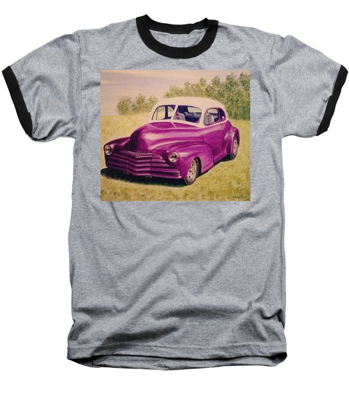 Baseball T-Shirt featuring the painting Purple Chevrolet by Stacy C Bottoms