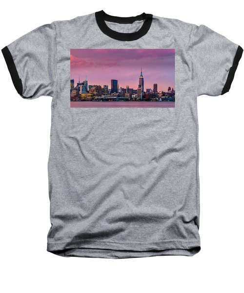 Baseball T-Shirt featuring the photograph Purple City by Mihai Andritoiu