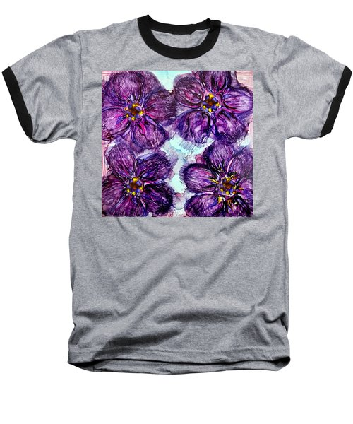 Baseball T-Shirt featuring the painting Purple Daisies Alcohol Inks by Danielle  Parent