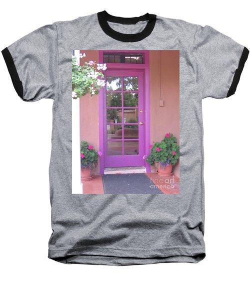 Baseball T-Shirt featuring the photograph Purple Door by Dora Sofia Caputo Photographic Art and Design